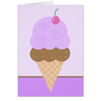 Purple Ice Cream Cone Card