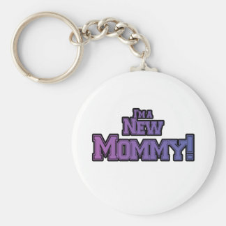 Purple I'm A New  Mommy Tshirts and Gifts Basic Round Button Key Ring