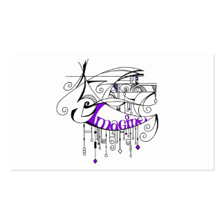 Purple Imagine In Lines and Dangles Business Card Template