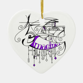 Purple Imagine In Lines and Dangles Ceramic Heart Decoration