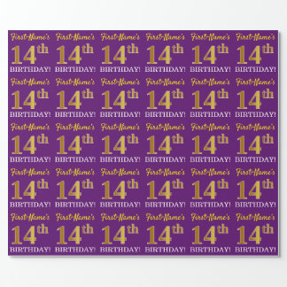 """Purple, Imitation Gold Look """"14th BIRTHDAY"""" Wrapping Paper"""