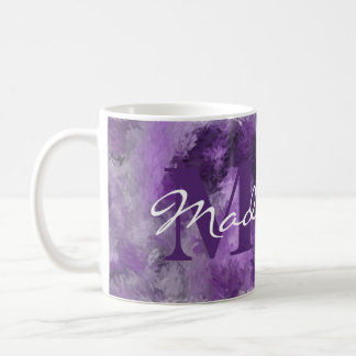 Purple Impressions Monogram with Name Coffee Mug