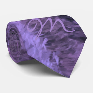 Purple Impressions Painting with Single Monogram Tie