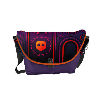 Purple Industrial Cyber Goth Robot Futuristic Courier Bag