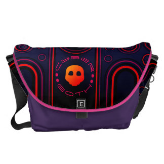Purple Industrial Cyber Goth Robot Futuristic Messenger Bags
