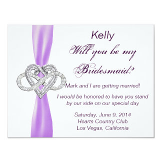 Purple Infinity Heart Bridesmaid Card