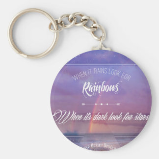 Purple Inspirational rainbow & stars quote Key Ring