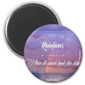 Purple Inspirational rainbow & stars quote Magnet