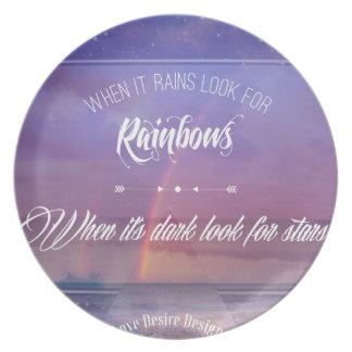 Purple Inspirational rainbow & stars quote Plate