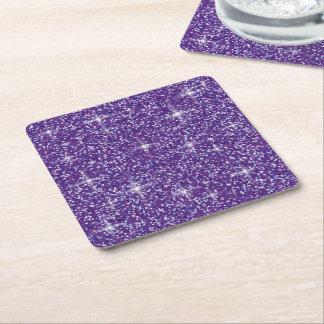 Purple iridescent glitter square paper coaster