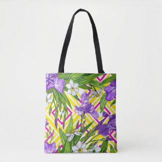 Purple Iris and Narcissus flowers - Bag