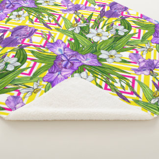 Purple Iris and Narcissus flowers on a geometric b Sherpa Blanket