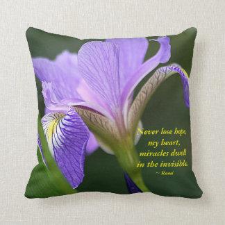Purple Iris and Rumi Throw Pillow