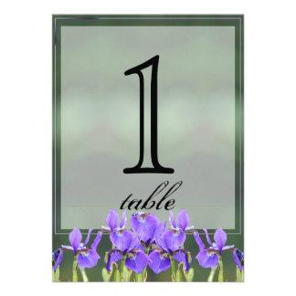 Purple Iris Anniversary Table Number Invite
