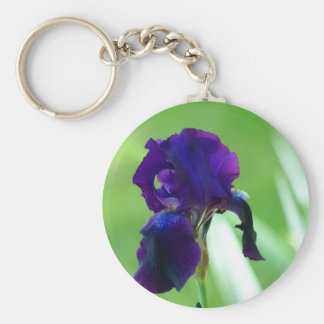 Purple Iris Basic Round Button Key Ring