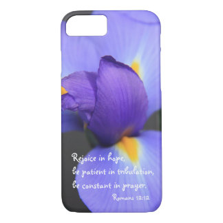 Purple Iris, Bible Verse about Hope, Romans 12: iPhone 7 Case