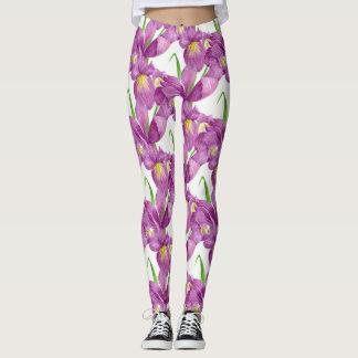 Purple Iris Botanical Floral Art Leggings