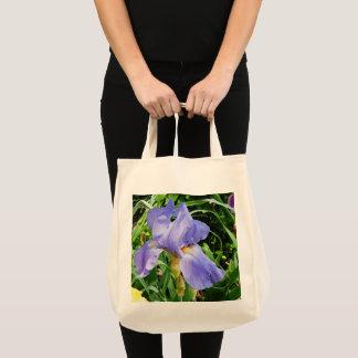 Purple Iris Botanical Tote Bag