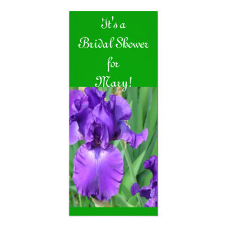 Purple Iris Bridal Shower 10 Cm X 24 Cm Invitation Card
