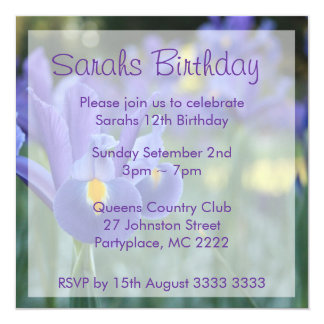 Purple Iris Custom Birthday Party Invitations