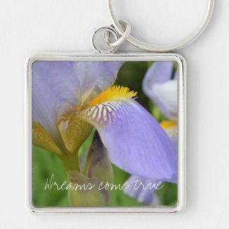 Purple Iris-Dreams come true Silver-Colored Square Key Ring