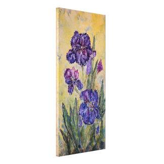 Purple Iris Floral Watercolor Print Canvas 12x26