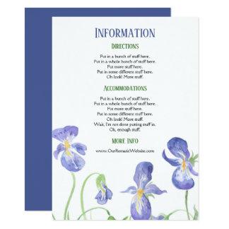 Purple Iris Floral Wedding Information Details Card