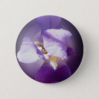 purple iris flower 6 cm round badge