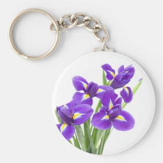 purple iris flower basic round button key ring