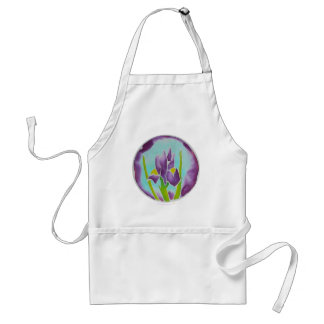 Purple Iris Flower Batik Art Standard Apron