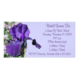 Purple Iris Flower Bridal Shower Invitation Customized Photo Card