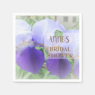 Purple Iris Flower Bridal Shower Paper Napkins