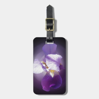 purple iris flower luggage tag