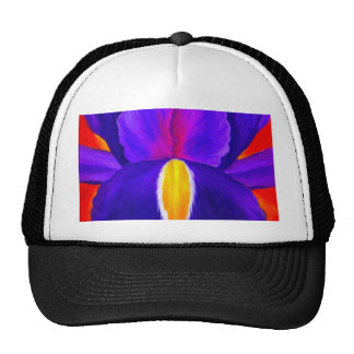 Purple Iris Flower Painting Art - Multi Trucker Hat