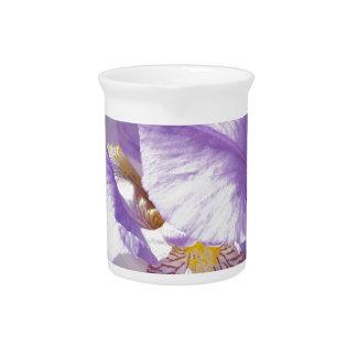 purple iris flower pitcher