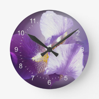 purple iris flower round clock