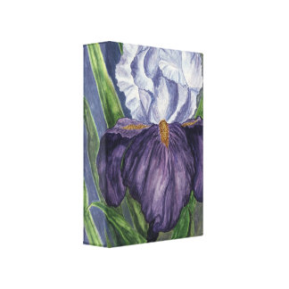 Purple Iris Flower  Watercolor Painting on Canvas Canvas Print