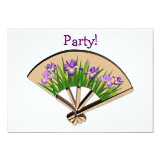 Purple Iris Flowers on Japanese Fan Design Card