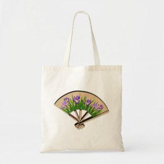 Purple Iris Flowers on Japanese Fan Design Tote Bags