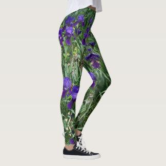 Purple Iris Garden Print-All-Over Leggings