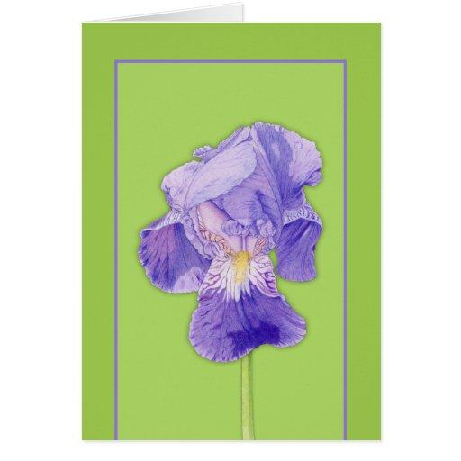 Purple Iris green Note Card