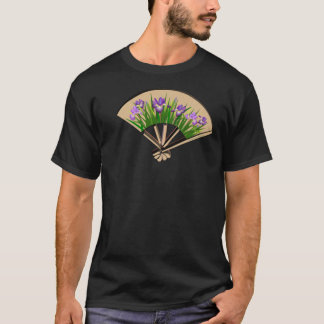Purple Iris Japanese Fan Design Shirt