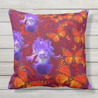 Purple Iris Monarch Butterflies Burgundy Art Outdoor Cushion