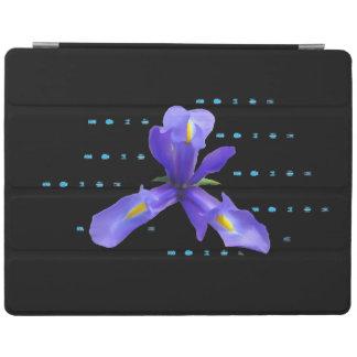 Purple Iris on Black Tablet Cover iPad Cover