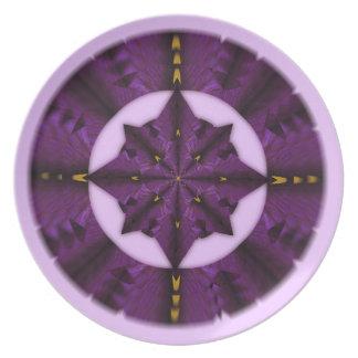 Purple Iris Petal Mandala Plate