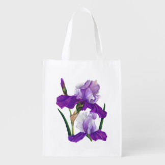 Purple Iris Reusable Grocery Bag