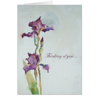 Purple iris sympathy card