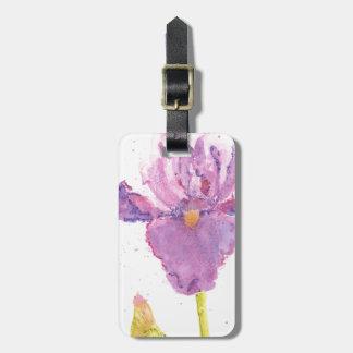 Purple Iris Watercolor Bag Tag