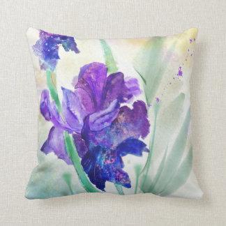 Purple Iris Watercolor Custom Throw Pillow