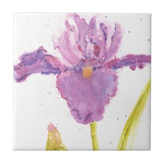 Purple Iris Watercolor Tile